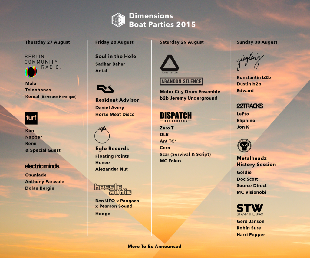 Dimensions Festival 2015 - first boat parties - flyer