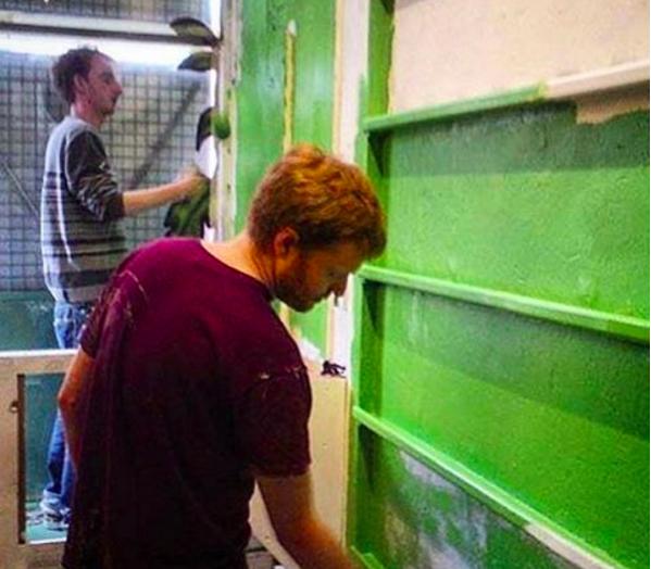Kowton and Chris painting the shop in 2011. Source: https://www.instagram.com/p/BBiEL4ZRk6U/